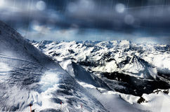 Winter mountains landscape in a rainy day Royalty Free Stock Photos