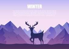 Winter mountains landscape with reindeer silhouette standing   Royalty Free Stock Images
