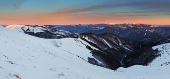 Winter mountains landscape at sunset - Slovakia - Fatra Royalty Free Stock Photos