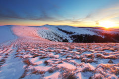 Winter mountains landscape at sunset - Slovakia - Fatra Royalty Free Stock Images