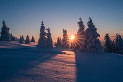 Winter mountains landscape. Trees covered with frost. Winter landscape from Slovak mountains with sun rays stock photo