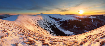 Winter mountains panorama landscape at sunset - Slovakia - Fatra Stock Photo