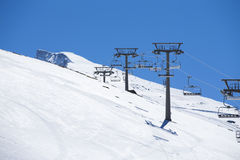 Winter mountains panorama with ski lifts on a cloudy day Royalty Free Stock Images