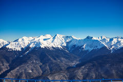 Winter mountains panorama with ski slopes. Royalty Free Stock Photography