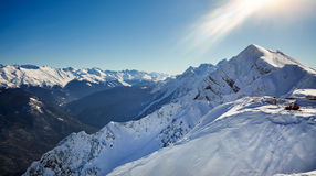 Winter mountains panorama with ski slopes. Stock Photography