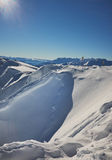 Winter mountains panorama with ski slopes. Royalty Free Stock Images