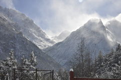 Winter in the mountains. The photo was taken in North Ossetia, in the Digor gorge Royalty Free Stock Images