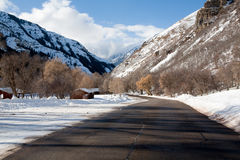 Winter in the Mountains and Road Royalty Free Stock Photo