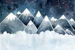 Winter night landscape. High mountains, snowflakes and drifts. royalty free illustration