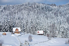 Winter at mountains Stock Images