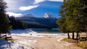 Winter mountains and snow lake Royalty Free Stock Image