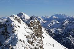 Winter in mountains with snow and mountain tops Stock Images