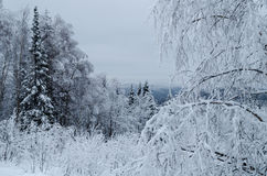 Winter in the mountains of the Southern Urals Stock Photo