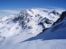 Winter mountains. Sunny winter day in Val Thorens Royalty Free Stock Photos