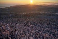 Winter mountains sunrise royalty free stock image