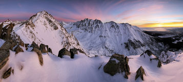 Winter mountains on sunset Royalty Free Stock Photography