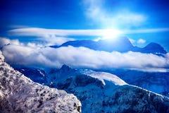 Winter mountains Switzerland in sunshine. Royalty Free Stock Photo