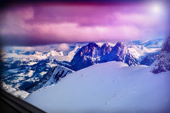 Winter mountains Switzerland in sunshine. Mountainside and deep snow. Royalty Free Stock Photos