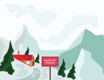 Winter Mountains and Tourist Cottage. Winter Holidays. Mountain Valley and Tourist Cottage with Red Roof and Chimney. Mountains and Fir Trees. Winter Mountain Stock Photo
