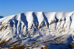 Winter in the mountains of Turkey. Bright blue sky and snowy mountains (Turkey Stock Photo