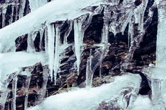 Ice. Winter mountains view. Drops and ice Royalty Free Stock Image