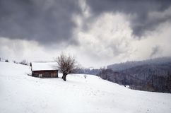 Winter in the mountains. Winter landscape. Winter in the mountains. Winter in the romanian mountains Stock Photography