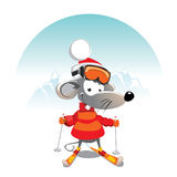 Winter mouse. Cartoon mouse on the Ski Royalty Free Stock Photography