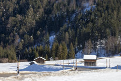 Winter moutain scenery, alpine road in Austrian Stock Photos