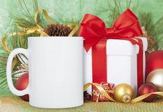 Winter Mug Mockup, Blank Cup With Christmas Background. New Yars Decoration On Festive Background. Royalty Free Stock Images