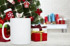 Winter Mug Mockup, Blank Cup With Christmas Background. New Yars Decoration On Festive Background Royalty Free Stock Photos