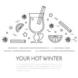 Winter mulled wine banner Linear style. Winter horizontal mulled wine banner. Flat linear stile. Vector illustration. Black and white concept for winter vector illustration