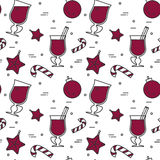 Winter mulled wine seamless pattern Flat line art stile Royalty Free Stock Photography