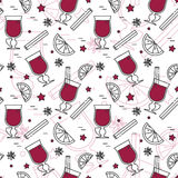 Winter mulled wine seamless pattern Linear stile Royalty Free Stock Image