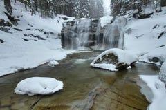 Winter Mumlava waterfall Stock Photo