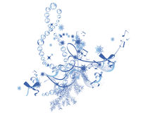 Winter music. Abstract treble clef decorated with snowflakes and notes vector illustration