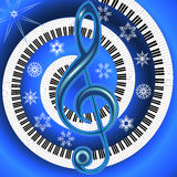 Winter musical poster with treble clef and fingerboard Royalty Free Stock Images