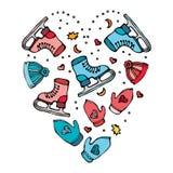Winter-Muster der Sport-Ausrüstung - Hut, Handschuhe, laufend, Hockey, Weihnachtsbaum eis Herz-geformte Vektor-Illustration Stockfotos