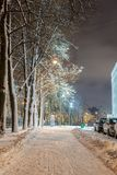 Winter, Nacht in einer Winterstadt, Winterstadt, Winter in einem Park, Schnee stockbild