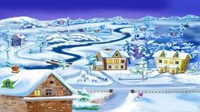 Winter-Nacht im Dorf durch den Fluss lizenzfreie abbildung