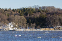 Winter-Natur-Landschaft auf Hudson River Stockfoto