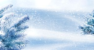 Free Winter Natural Background. Christmas Trees In The Forest. Snowing. Copy Space Royalty Free Stock Photography - 155317887