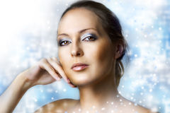 Winter natural beauty make up. Royalty Free Stock Photos