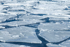 Blocks of ice on frozen blue Sea Stock Photography