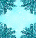 Winter Nature Background with Fir Branches. Illustration Winter Nature Background with Fir Branches and Snow Fall - Vector Stock Image