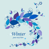 Winter nature background frame. Frame of colorful leaves and snowflakes. Nature frames templates. Winter background Stock Photo