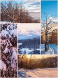 Winter nature beautiful collage images Stock Photo