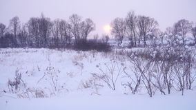 Winter in nature, beautiful landscape at sunset. stock footage