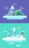 Winter nature.  Christmas time. Vector flat Royalty Free Stock Images