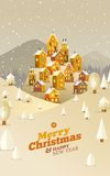 Winter nature.  Christmas time. Vector flat Royalty Free Stock Photos