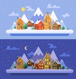 Winter nature.  Christmas time. Vector flat illustrations eps 10 Stock Photo